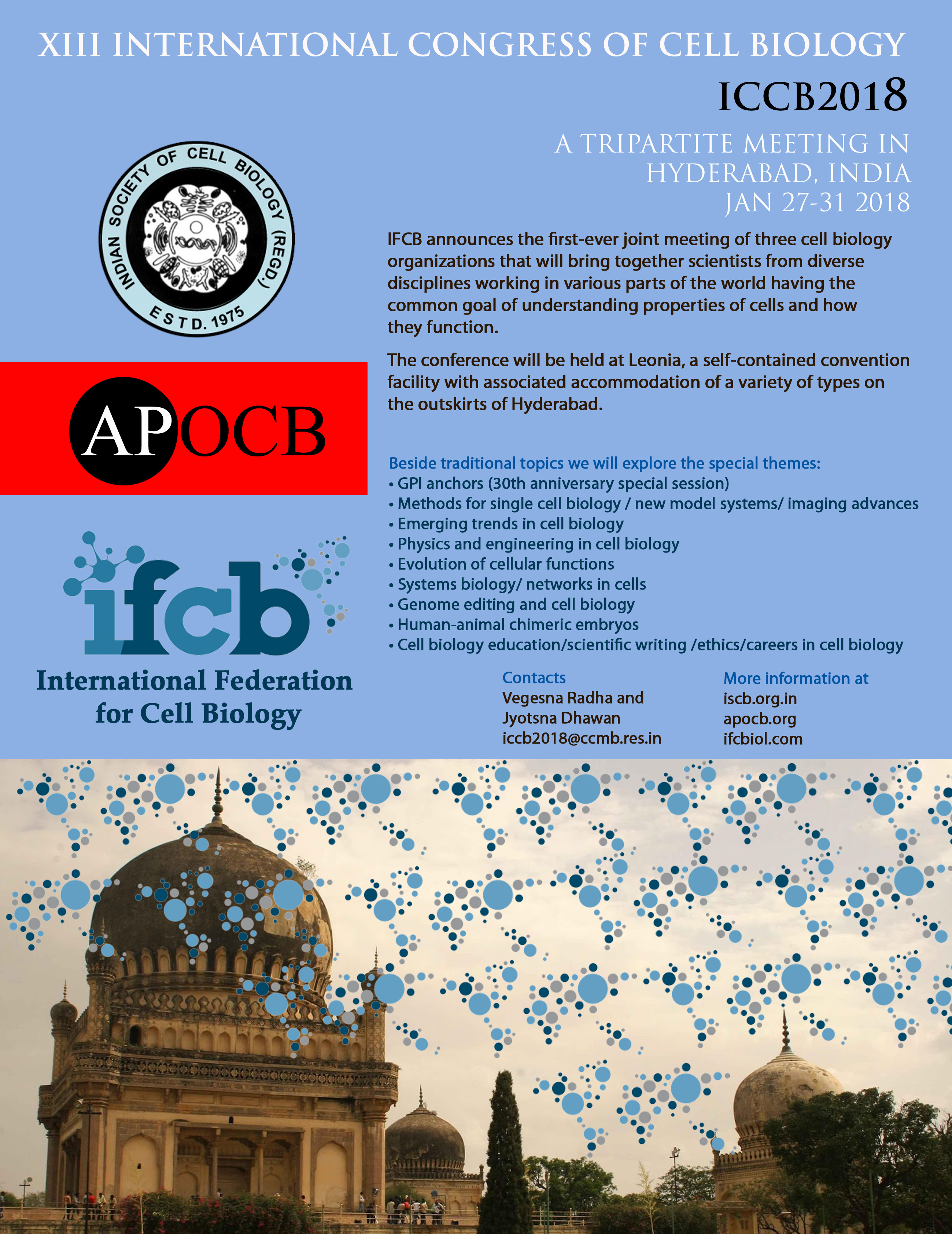The 13th IFCB/ICCB will be held in Hyderabad, India, 2018